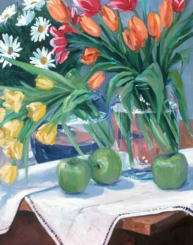Tulips and Green Apples