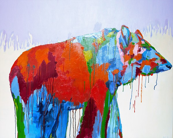 Bear, colour, oil, dripping