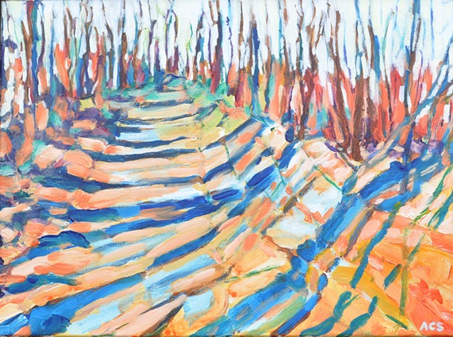 Edmonton; offleash; trees; outdoors; acrylic; painting