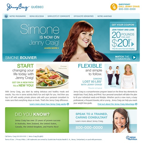 Jenny Craig Quebec website  Role: Design and Art Direction of initial comp