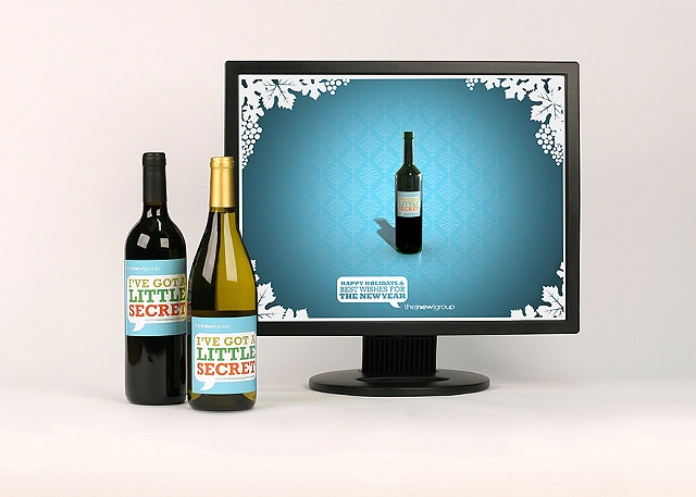 Photograph of The New Group's Holiday client appreciation campaign for the The New Group's portfolio  Role: Photoshoot of work, design of wine label