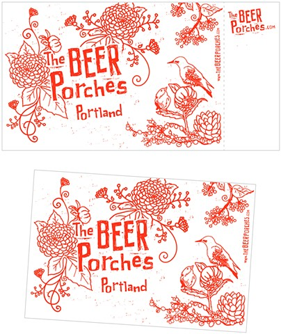 The Beer Porches postcard  Design + Illustration