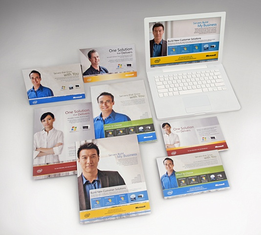 Photograph of Microsoft-Intel campaign for The New Group's portfolio  Role: Photoshoot of work, design production of email template and print ads