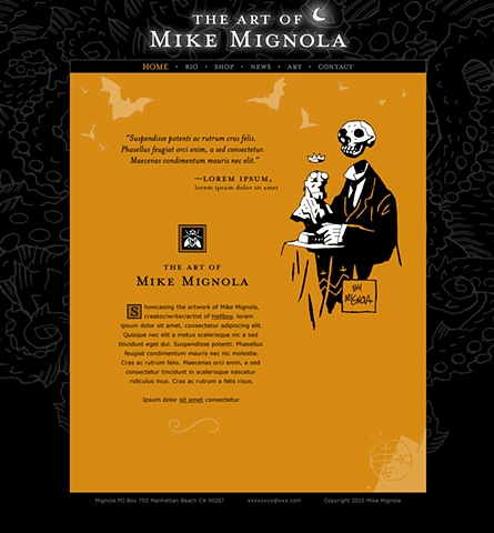 Homepage  Design and Art Direction for original Art of Mike Mignola.com