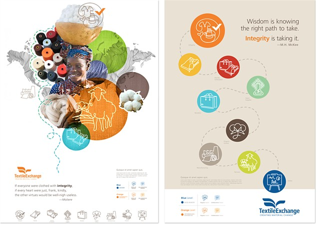 Textile Exchange poster + iconography design  Client: Fancypants Design