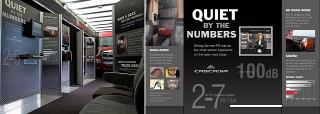 Freightliner  Photo of installation graphics + digital file of the Sound Comparison Kiosk for the Cascadia Trailer Experience