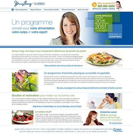 Subpage  Jenny Craig Quebec website  Role: Design and Art Direction of website using the established look and feel created by the Creative Director
