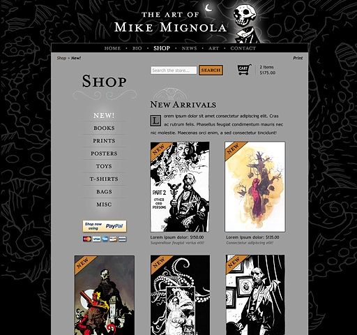Subpage - Shop  Design and Art Direction of original Art of Mike Mignola.com