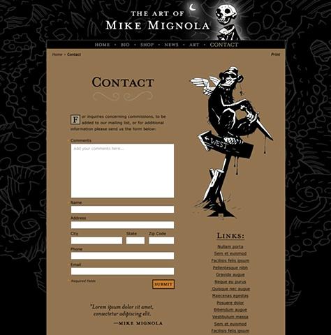Subpage - Contact  Design and Art Direction of original Art of Mike Mignola.com
