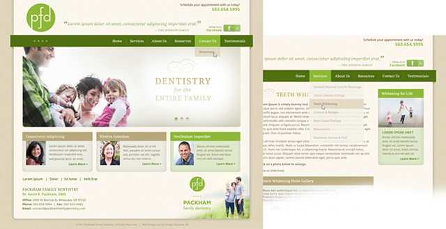 Packham Family Dentistry for JustByDesign  Logo and website design comp