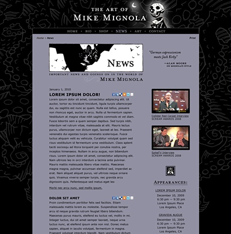Subpage - News  Design and Art Direction of original Art of Mike Mignola.com