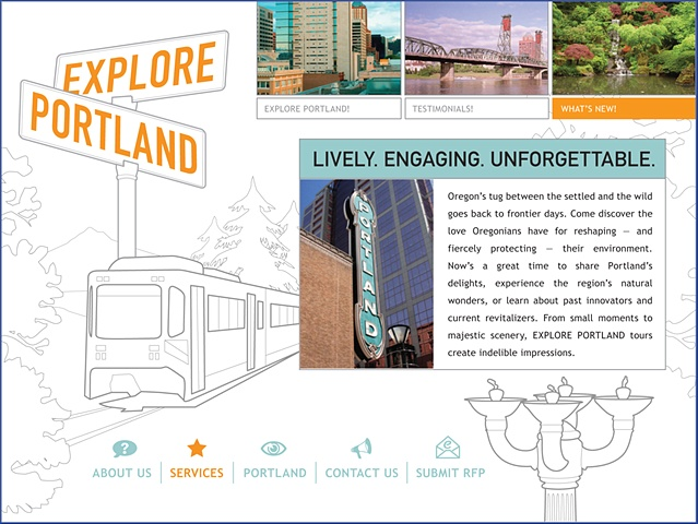 Explore Portland Homepage  Design, Illustration and Art Direction for Website, banner ads, and collateral materials.