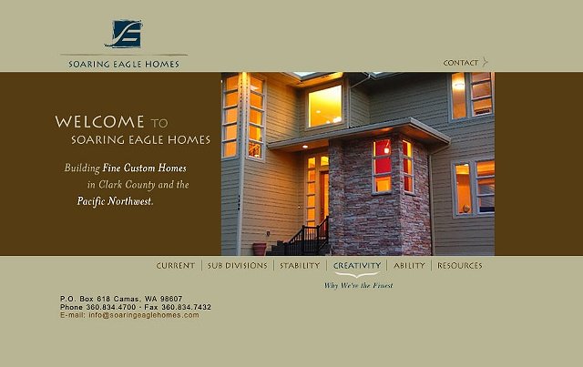 Soaring Eagle Homes  Design and Art Direction of website