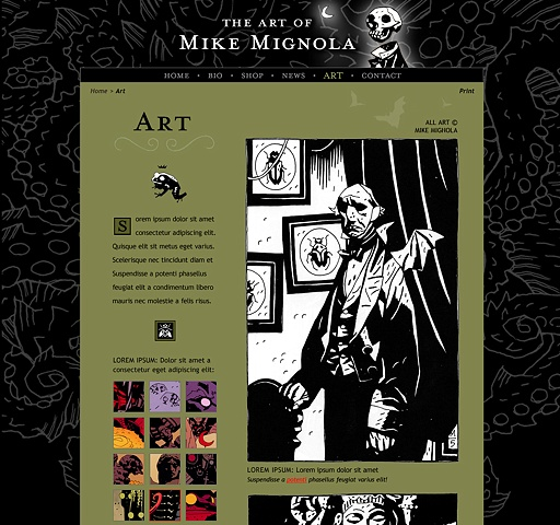 Subpage - Art  Design and Art Direction of original Art of Mike Mignola.com