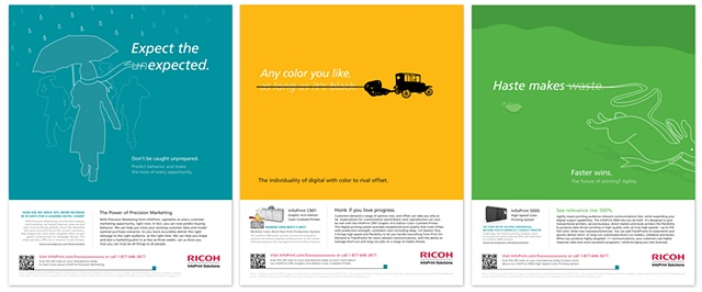 RICOH/InfoPrint Solutions  Ad Campaign - Print, Web and animated Banners Client: TNG