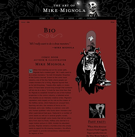 Subpage - Biography  Design and Art Direction of original Art of Mike Mignola.com