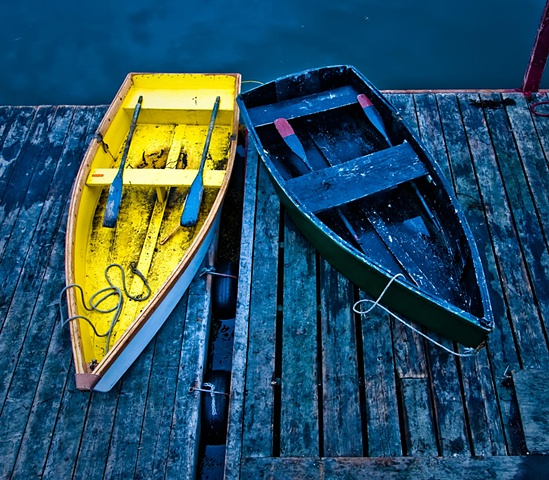 Blue and Yellow Rowboats