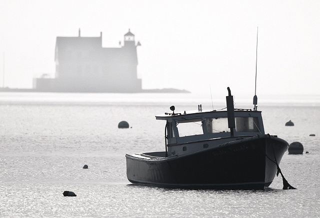 Lobster Boat and Breakwater Lighthouse