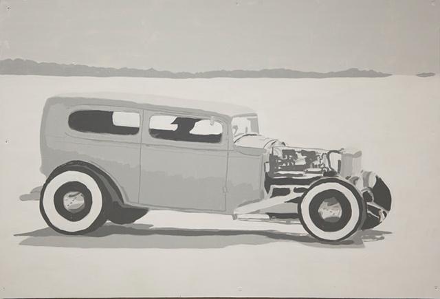 1932 Ford Sedan on the Bonneville Salt Flats