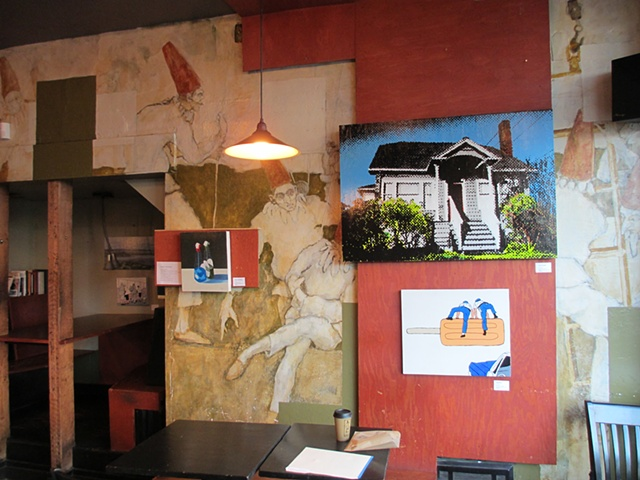 This is my work hanging at Cafe Vita on Queen Anne