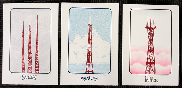 three tower prints for sale togther