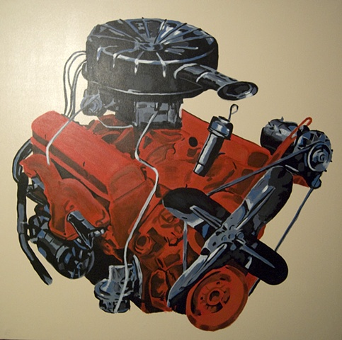 Red Corvette V8 Engine