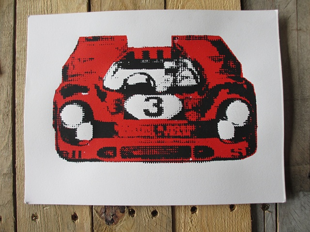 Red Porched race car screen print