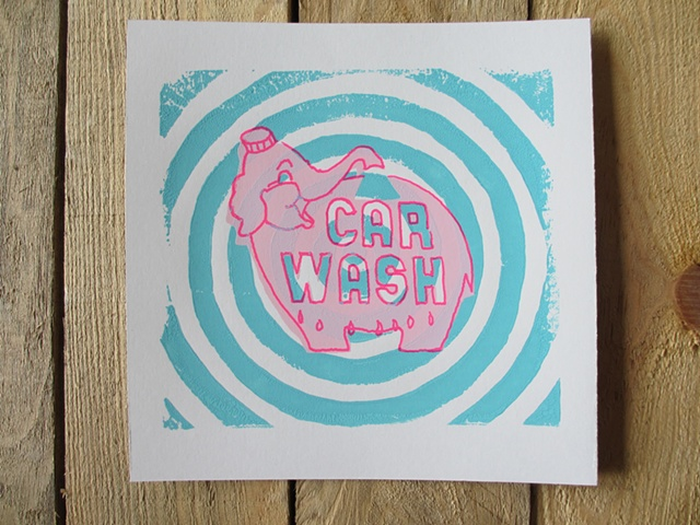 Pink Elephant Sign Blue circles screen print