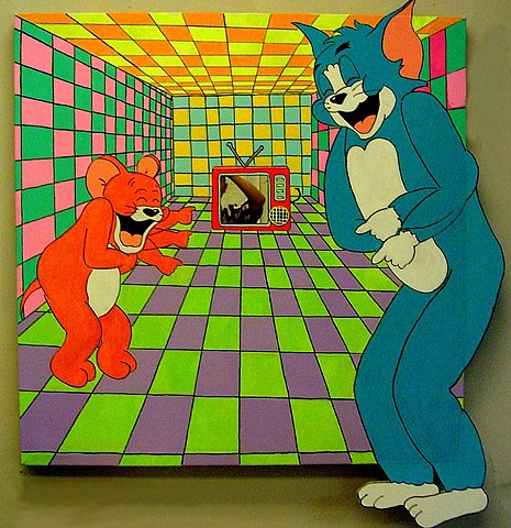 Tom and Jerry, 4 x 4 foot, Acrylic on Canvas, 2006