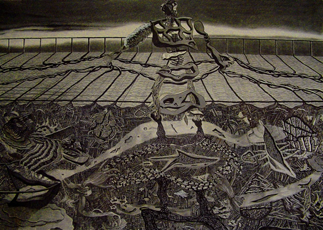 "The Ashes of Time, 50 x 60"", Pen and Pencil on Paper, 2004"