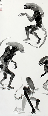 Detail From Alien, Acrylic on traditional Chinese Scroll, 2012