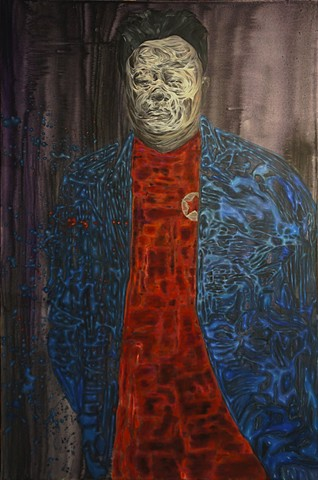 "PWOS01E05-Kim Jong il's Dorian Gray, 40 x 60"", Acrylic on Canvas, 2013"