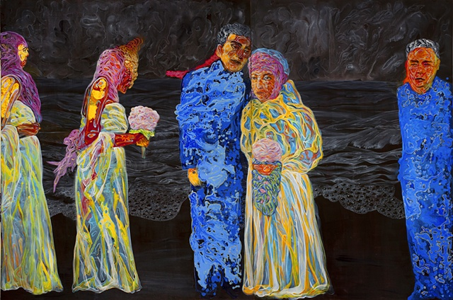 "Ceremony (The Birthday of Million Tear Drops No.5), 72 x 108"", Acrylic on Canvas, 2011"