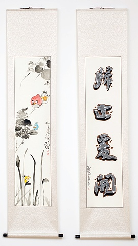 """Angry Birds II & Califfiti II"", 77 x 16.5 inches each,  acrylic on traditional Chinese scroll, 2012"