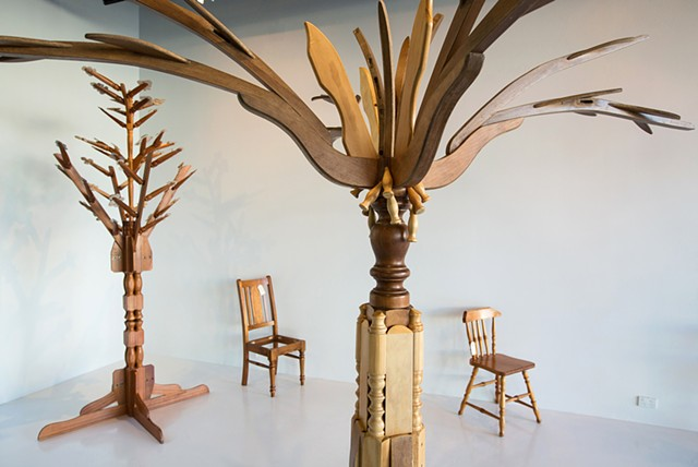 Blonde Palm Tree with Chair #33 (front) and Oval Leaf Tree with Chair #11 (back)
