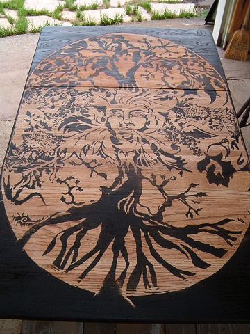 Found Table - Tree/Green Woman