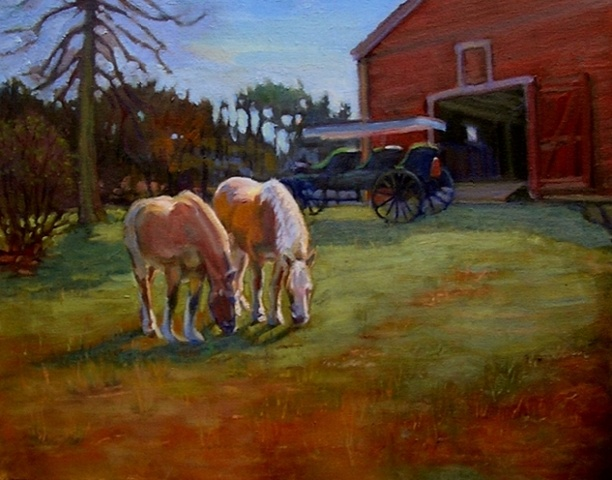 horses, carriage, barn, Wayside Inn