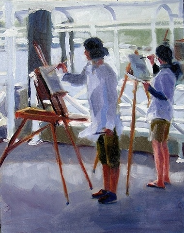 plein-air painters on the wharf, Provincetown