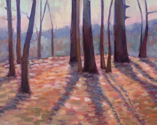 sunrise forest plein air
