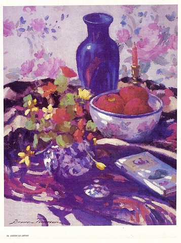 ".....continued  ""Blue Vase and Apples""     oil   20"" x 16""   Mr. & Mrs. Walter Gewecke Collection"