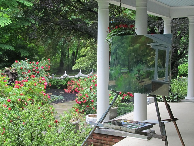 Painting from the porch, Wayne B&B, PA