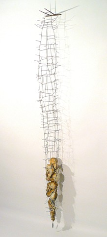 wire steel sculpture leather