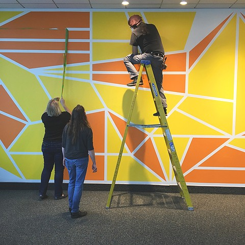 Installation of Flight Patterns, Yellow and Orange Observation Deck, Albany International Airport, Albany, NY