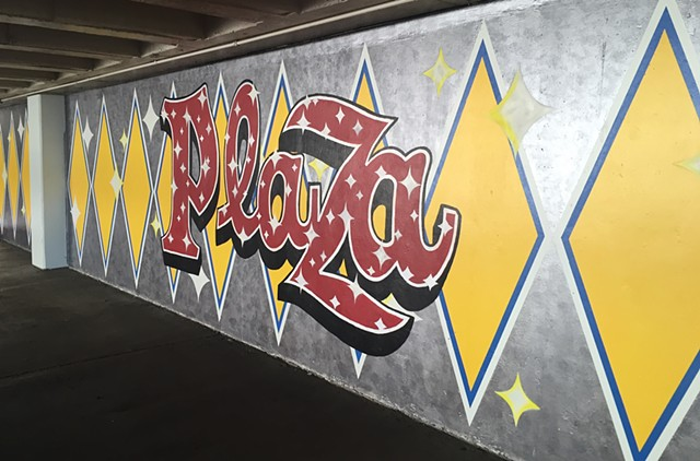 Plaza Hotel and Casino, parking garage mural