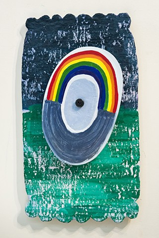 Interactive by way of spinning, rainbow rotates is painted in oil.