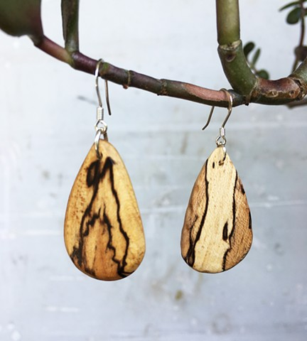 Spalted maple earrings, walnut earrings, smooth, usa made, not made in china, handmade, light, arches, small and dangling
