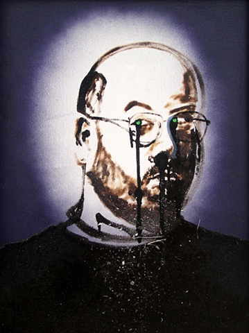 spray paint self portrait studio dirt by Steve Veatch