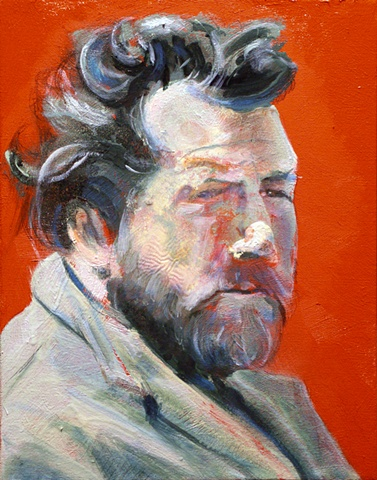 1950's movie still-orange portrait bearded man-water soluble oil paint-by Steve Veatch