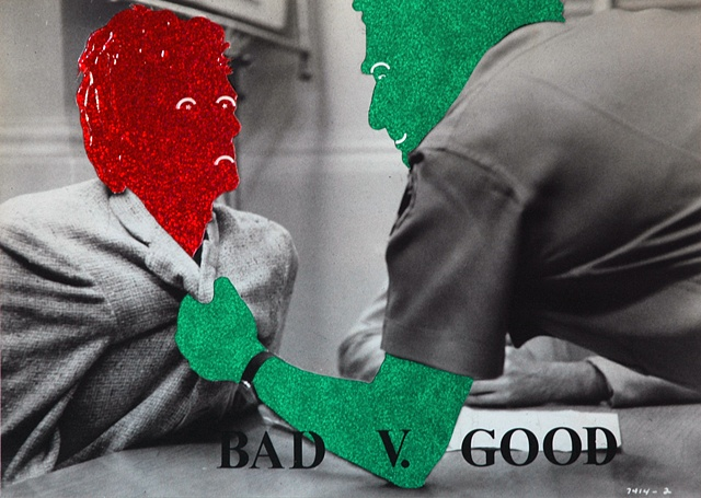 mixed media collage movie still-good bad-good evil-authority authoritarian jail incarcerate prison by Steve Veatch