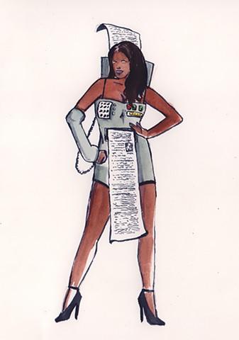 Sexy Fax Machine costume.